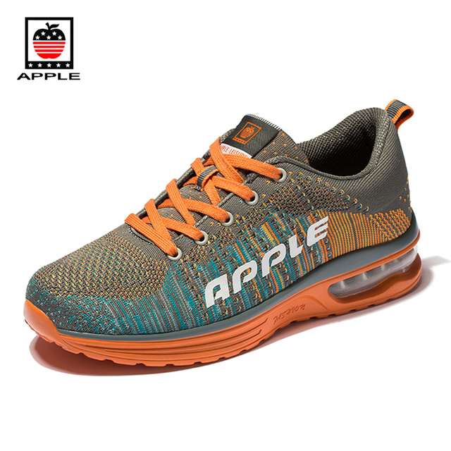Apple 2017 new arrival couple light breathable fly weaving half air sole walking shoes Men's women's mesh sport running shoes