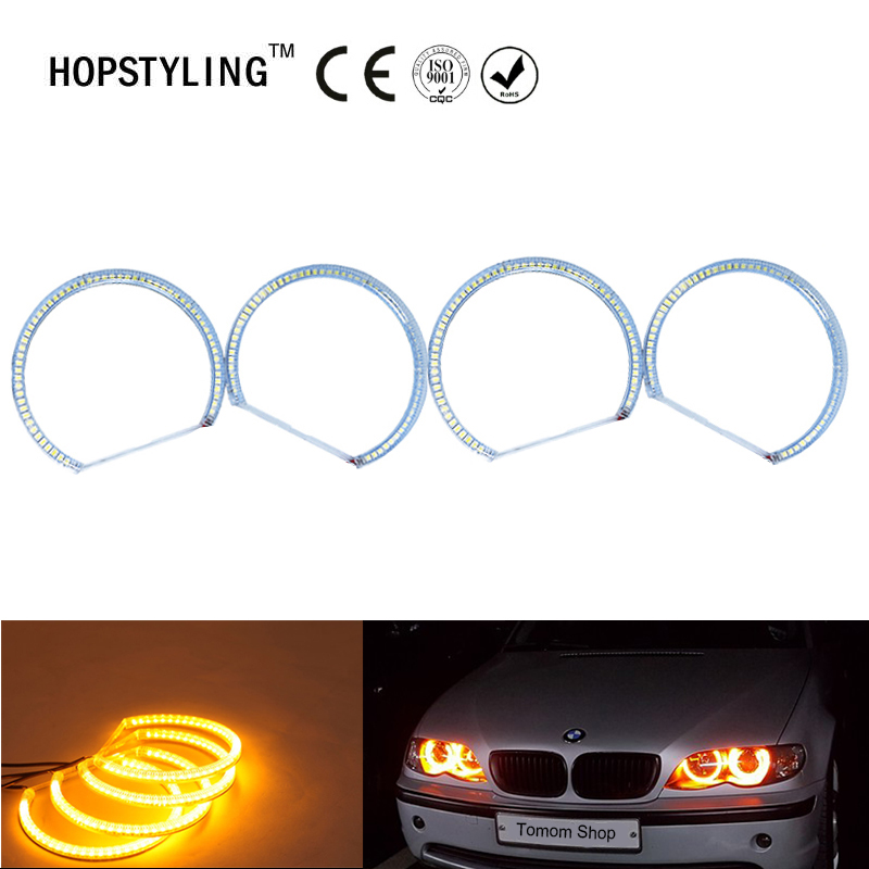 No Error Amber Yellow SMD Angel eyes halo rings for BMW 3series 7 series 5 Series E36 E38 E39 E46 M3 Car 60 SMD 3528 headlight неоновые кольца angel eyes duntuo smd 60 2