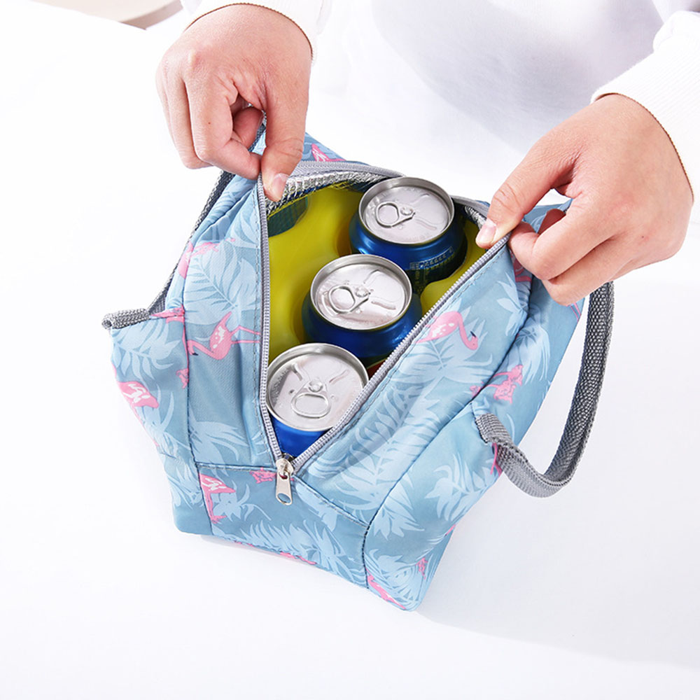 Insulated Cold Canvas Stripe Picnic Carry Case Thermal Portable Lunch Bag Cooler For Adults,Women,Mens One Size, Pink