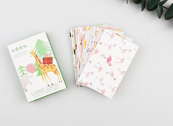 52mm*80mm Forest Animal Paper Greeting Card Lomo Card(1pack=28pieces)