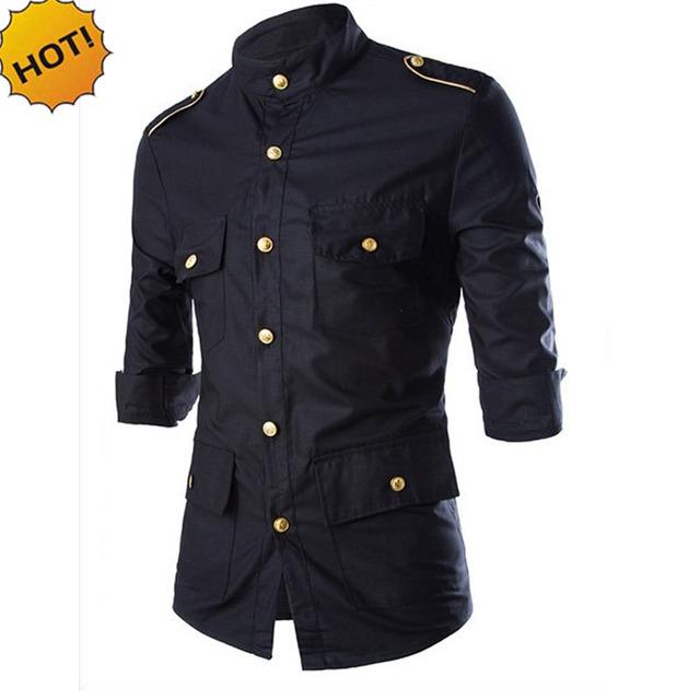 New2016 Moda Otoño Camisas de Esmoquin de Oro Botón Sólido Epaulet de Manga tres Cuartos Negro Slim Fit Multi-Bolsillo de la Camisa de Vestir