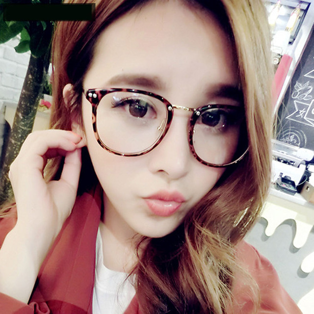 Korean Style Rivet Big Frame Glasses 2927 Vintage Metal