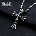 Beier Wholesale Stainless Steel Gothy Style Double Cross Pendant Necklace for Boy and Girl  BP8-010
