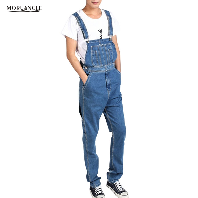 MORUANCLE Men's Plus Size Cargo Denim Bib Overalls Baggy Loose Jeans Jumpsuits For Male Suspender Pants Multi Pockets Size 28-46 fashion casual loose denim overalls men large size 46 cargo pants male jeans jumpsuits spring vintage sexy denim trousers 062909