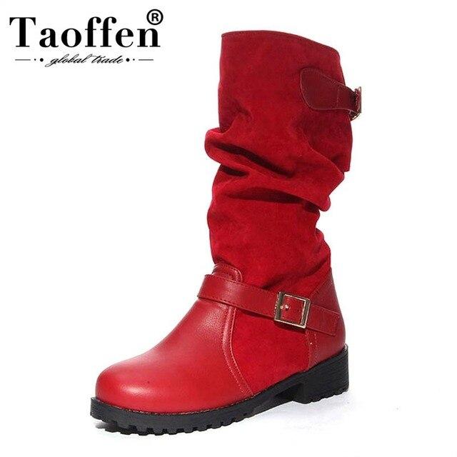 TAOFFEN النساء شقة نصف أحذية بوت قصيرة الخريف الشتاء الدافئة منتصف العجل التمهيد بوتا مشبك جولة اصبع القدم الأحذية جودة حجم 34 -43