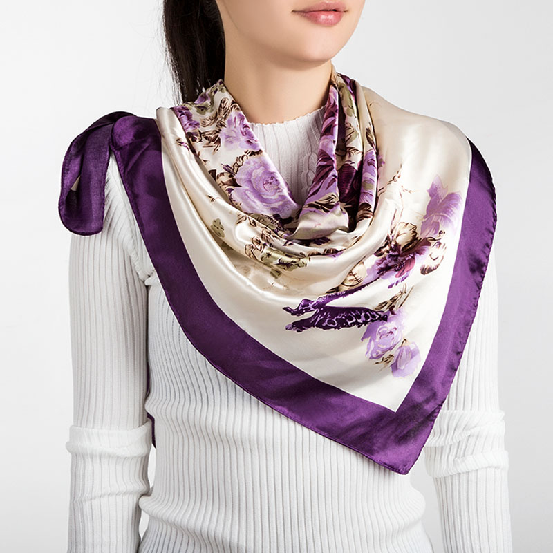 Urdiamond 2018 New Spring Women Silk Scarf Purple Printing