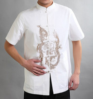 Hot Sale White Traditional Chinese Style Men S Cotton Shirt Top Kung Fu Short Sleeves Clothing