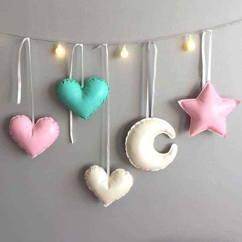 1 PC Nordic Stars Moon Wall Hanging Decoration Heart LOVE Shape Kids Room Game Tent Bed Mantle Decorative Hanging Ball Gift
