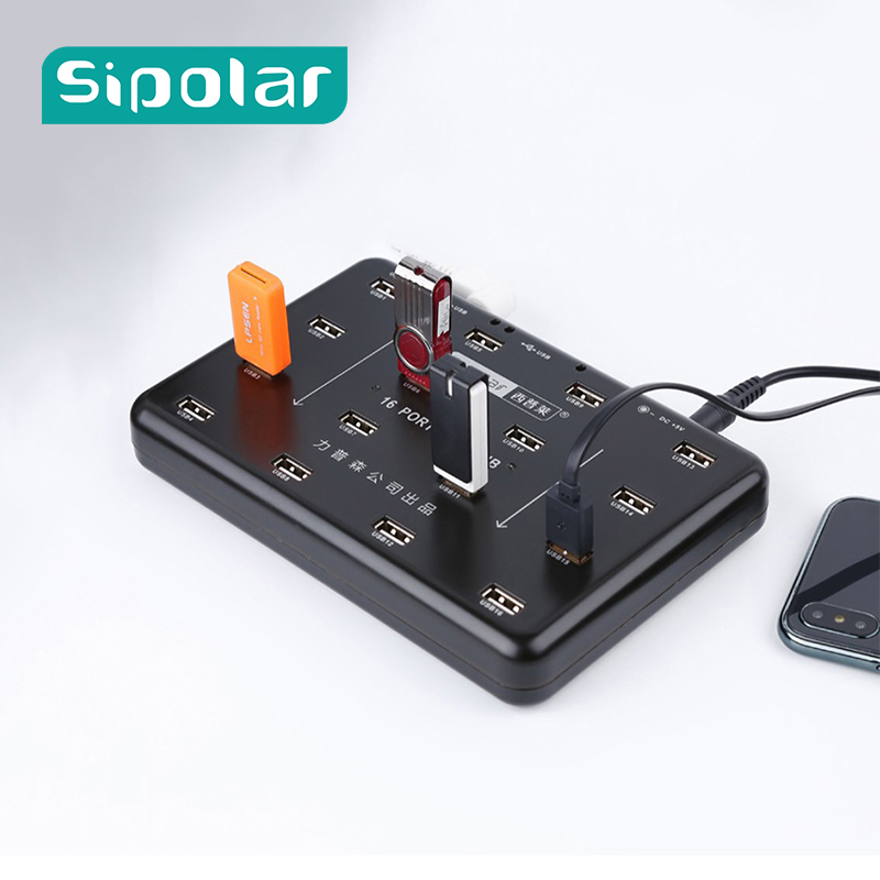 Sipolar 16 Ports USB 2.0 Hub Duplicator For TF SD Card Reader U-disk Data Test Batch Copy With LED Lamp 5V3A Power Adapter A-100 ifound 8800mah dual usb mobile power source w sd card reader led flashlight golden