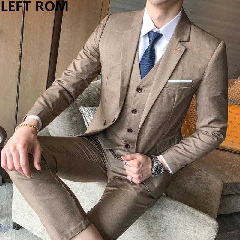 8d3fc29f15861 GAUCHE ROM (Veste + Gilet + Pantalon) 2018 Haute qualité Hommes Costumes De  Mode