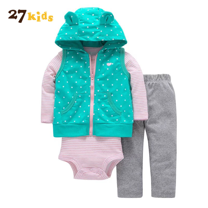 27Kids 3pcs Baby Clothes Set Autumn Baby Boys Girls Clothes Newborn Warm Hooded Tops+Romper+Pants Outfits Kid Girls Clothing Set