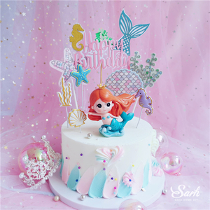 Image 5 - Ins Crown Mermaid Decorations Laser Blue Fishtail Cake Topper  for Childrens Day Party Supplies Birthday Dessert Cute Gift