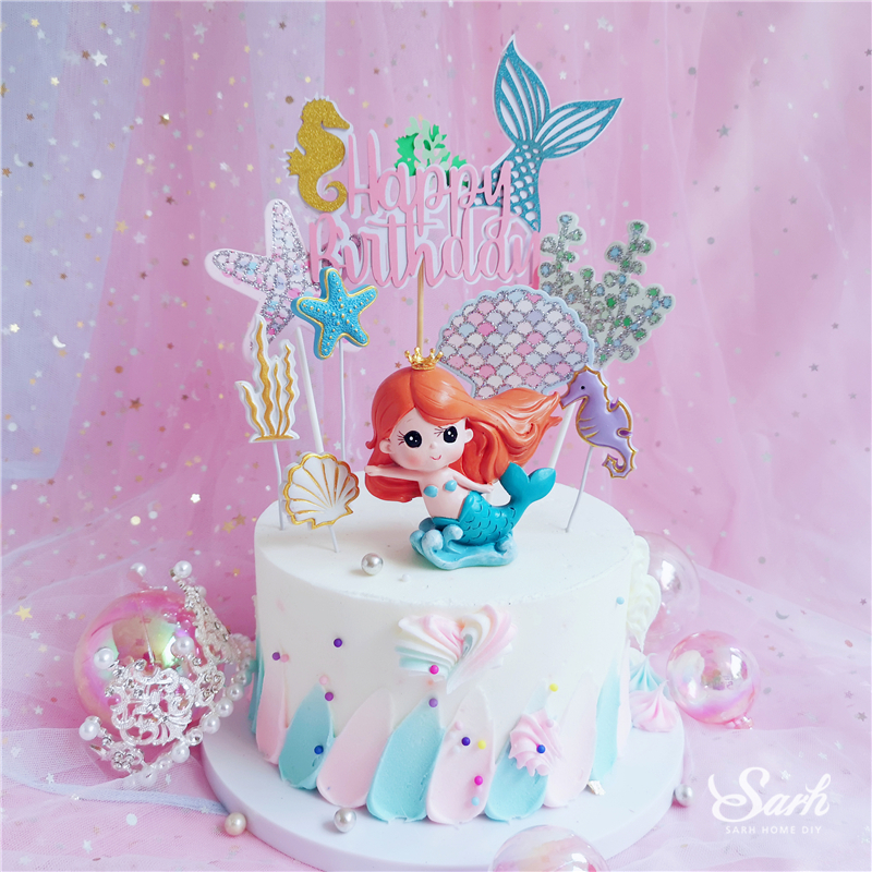 Ins Crown Mermaid Decorations Laser Blue Fishtail Cake Topper for Children's Day Party Supplies Birthday Dessert Cute Gift