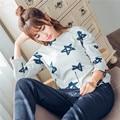 Новый комфортабельный двухсторонний хлопок домашней одежды пижамы женщин синий, розовый (M-XXL)
