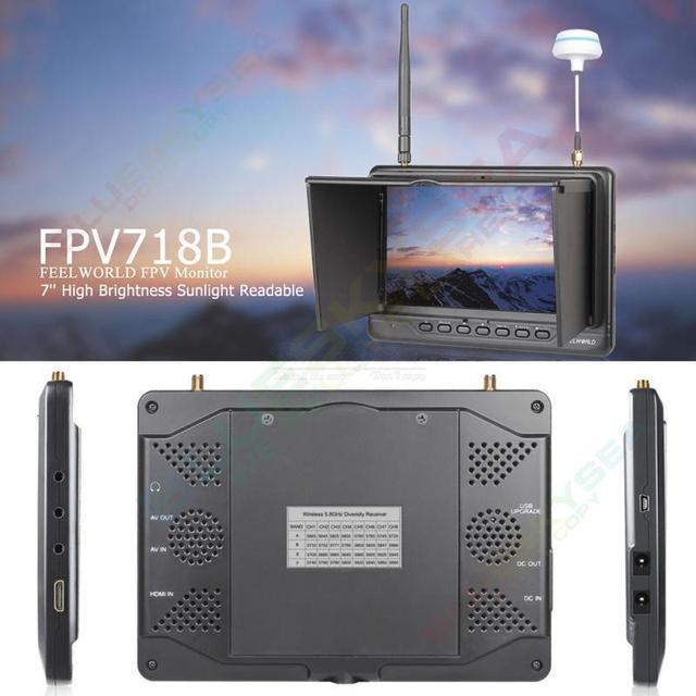 """Frete grátis! FPV718 7 """"Slim Bateria Embutida HDMI 5.8G RF Receptor de Diversidade 32ch FPV Monitor"""