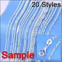"""Bijoux échantillon commande 20 pièces mélange 20 Styles 18 """"véritable 925 en argent Sterling lien collier ensemble chaînes + homard fermoirs 925 Tag"""