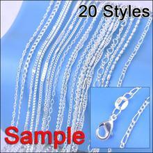 Заказ ювелирных изделий, 20 шт, Смешанные 20 видов стилей, 18 дюймов, подлинный 925 пробы, серебряное звено, ожерелье, набор, цепи+ застежки с омаром, бирка 925