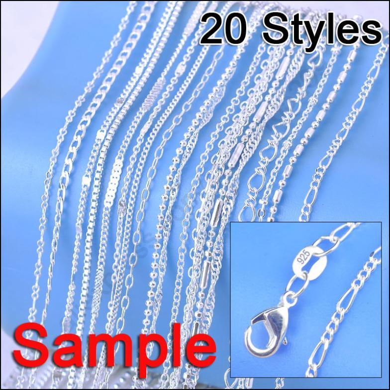 "Schmuck Probe Auftrag 20Pcs Mix 20 Stile 18 ""Echte 925 Sterling Silber Link Halskette Set Ketten + Hummer verschlüsse 925 Tag"
