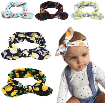 Girls Rabbit Ears Headband pineapple/lemon/Banana Fruit Print Turban Knot Hairband Head  ...