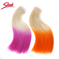 Sleek Hair High Quality Summer Colorful Peruvian Silky Straight Hair Extension Human Hair Weave Bundles Remy 1 Pc Red/ Green