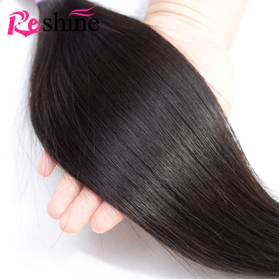 Brazilian Straight Hair Bundles With Closure 100 Human Hair Bundles With Closure Reshine Hair Remy Hair 3 Bundles With Closure in 3 4 Bundles with Closure from Hair Extensions Wigs