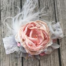 Цветок девушка шелк Дюпон бант головная повязка Детские аксессуары для волос фото реквизит