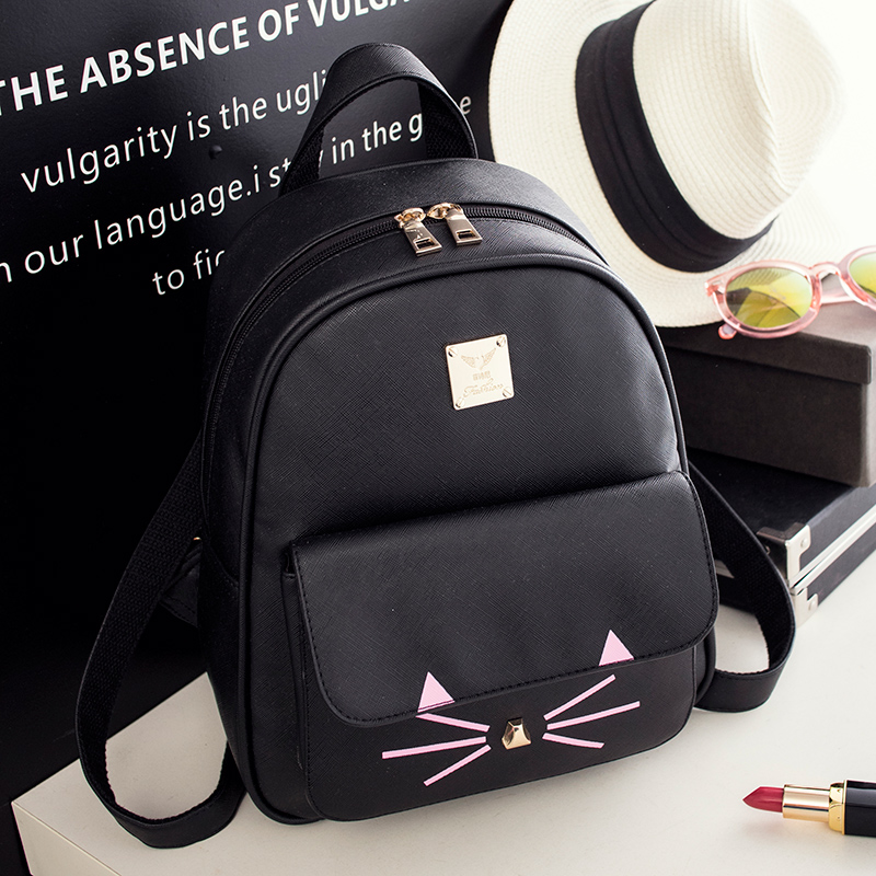 Hot Sale Cat Backpack Bags For Girl Kids mochilas escolares black PU leather women back pack cute book bags children backpacks