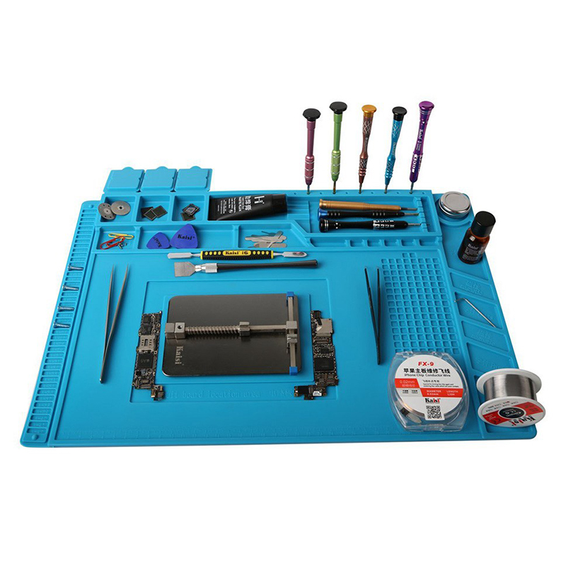 S-160 Kaisi 45x30cm Soldering Station Iron Phone PC Computer Repair Mat Magnetic Heat Insulation Silicone Pad Desk Platform цены онлайн