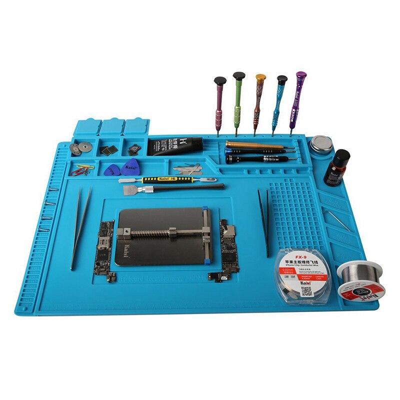 S-160 Kaisi x 45x30 cm Estación de soldadura de hierro de la PC del teléfono reparación Mat magnético aislamiento térmico silicona Pad de escritorio plataforma