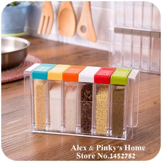 Attirant 6pcs/set Kitchen Pepper And Salt Box Condiment Bottles Salt Shaker Storage  Box For Salt