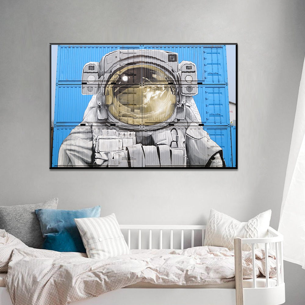 Unframed HD Canvas Prints Painting On The Container Space Suit Prints Wall Pictures For Living Room Wall Art Decoration