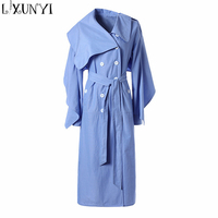 High Quality 2018 Autumn Winter Women Double Breasted Trench Coat With Belt Blue Long Windbreaker Female
