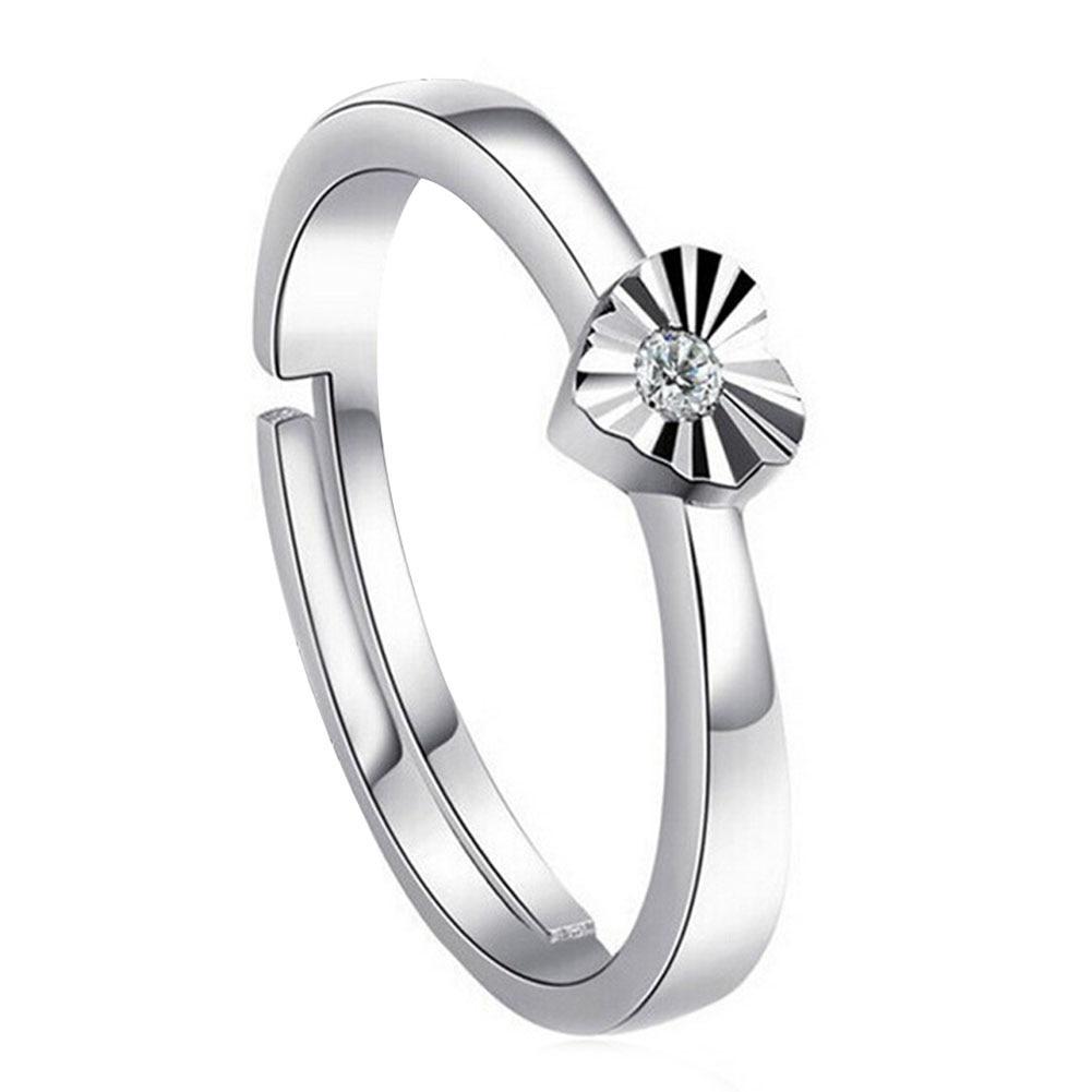 1 Stücke Glänzende Slver Pated Herzförmigen Öffnung Ring Frauen Edlen Schmuck Paar Ringe Drop Shipping GroßEs Sortiment