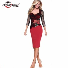 Spring Summer Sexy Lace Pencil Office work Dress Women Elegant Floral Embroidery Evening Party Dresses Plus Size
