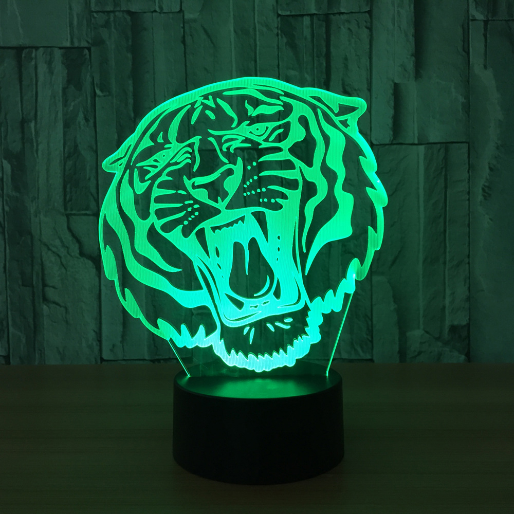 Seven Colors Home Decor Lighting 3D Holiday Gift LED Lights Novelty Tiger Head Shaped Lamp Table Lamp USB Christmas Night Light
