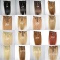 Hot Queen Brasileño de la Trama Del Pelo Humano Sedoso Clip Recto En la Extensión Del Pelo de Una Pieza Remy Tejidos de Pelo Color Mezclado