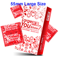 55mm Large Size Sex Products Thai Natural Latex Condoms for Men Safety Contraception Penis Sleeve Adult Sex Toys for Couples