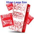 55mm tamanho grande preservativos pênis bico luva thai natural látex sexo produto para homem seguro contracepção adulto sexo brinquedos para casais