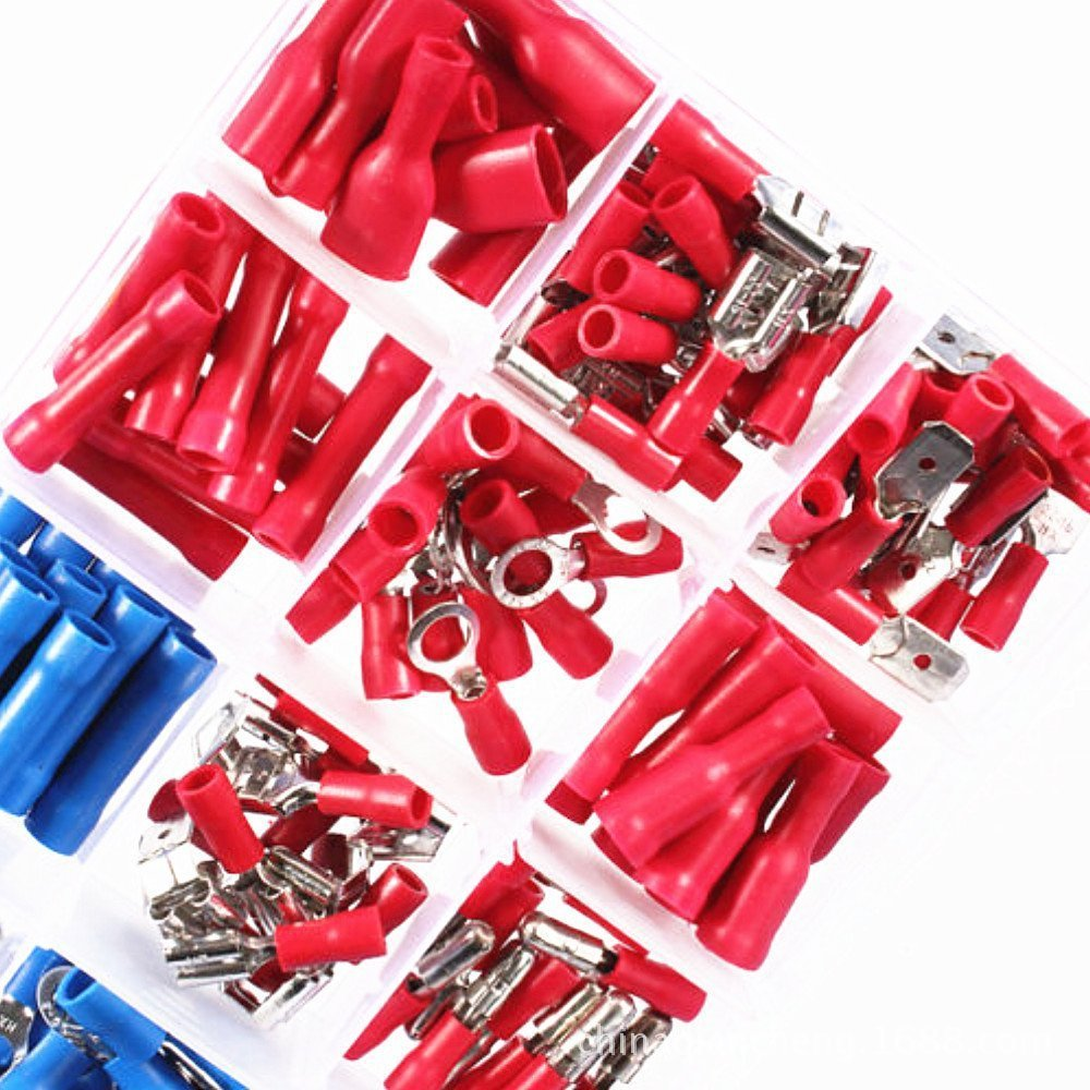200pcs/lot Assorted Fork Ring Spade Set Insulated Electrical Wire Cable Terminals Crimp Connector For Auto Industry Box Kit