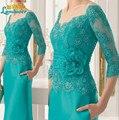 2016 moda larga verde lf2739 madre de la novia viste con flor hecha a mano de encaje Appliqu noche formales vestidos del partido más el tamaño