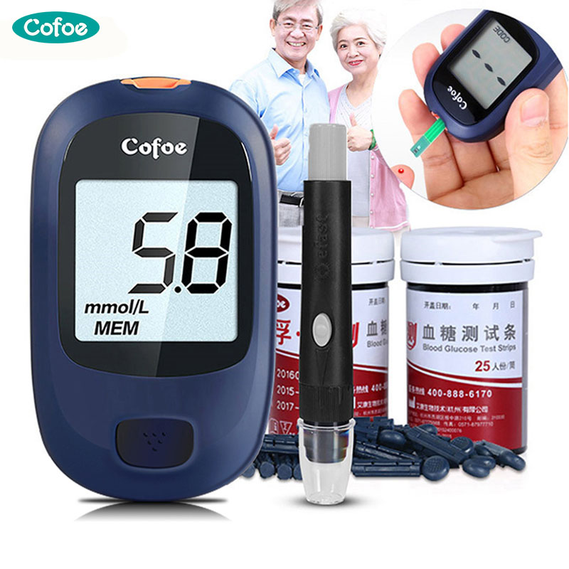 Yice Cofoe Médico medidor de Glicose de açúcar No Sangue Diabetes Glicosímetro medidor & Tiras de Teste de Glicose No Sangue & Lancet Agulha Medidor de Açúcar