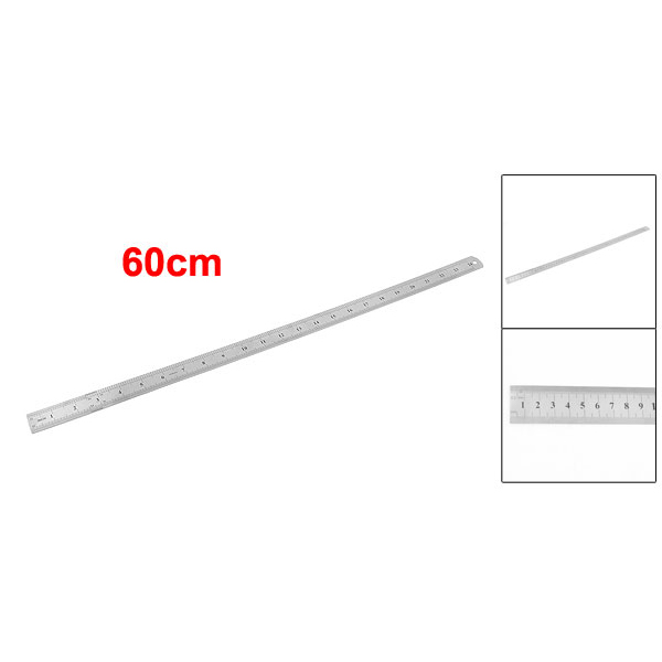 Stainless Steel 60cm 24.6 Inch Measuring Long Straight Ruler