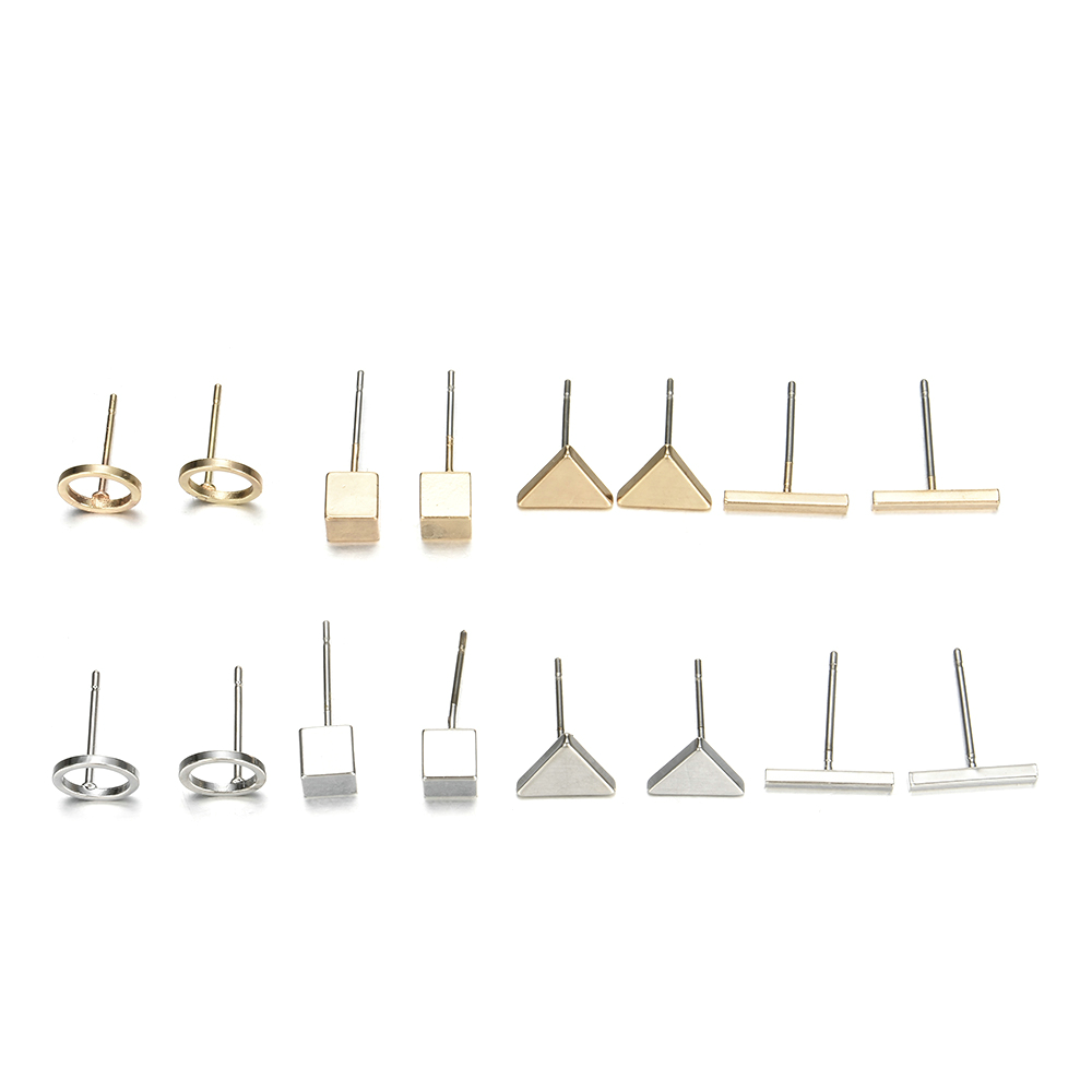 Occident Simple Style 4pairs/set Gold Alloy Geometric Square Triangle Round One-word Stud Earrings Fashion Combination