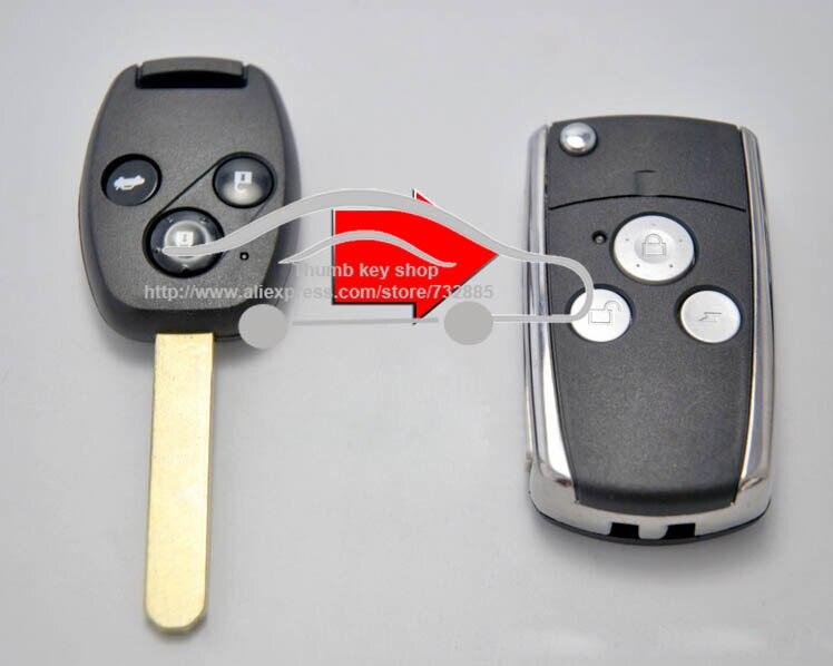Prix pour 3 Bouton Bascule Modifié Coquille Principale À Distance pour Honda CRV Fit Accord civic Pilot Remplacement Pliant Shell Key Cas Sans Clé Fob