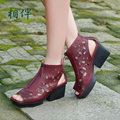 2017 Summer sandals women designer shoes handmade leather hollow out open-toed sandals platform Roman shoes high heels
