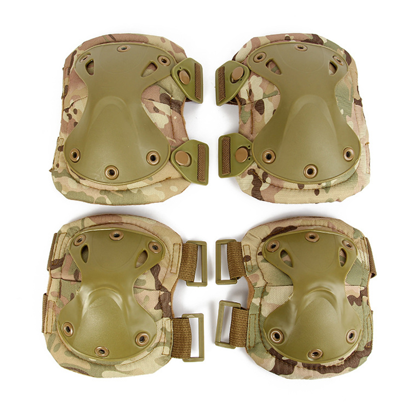Tactical Protection Elbow & Knee Pads Set Sports Safety Protective Pads Outdoor CS Paintball High Quality 4pcs/lot Multi-color lanova 7pcs set protective gear knee elbow pads wrist protector protection skate helmet for scooter cycling roller skate 4 size