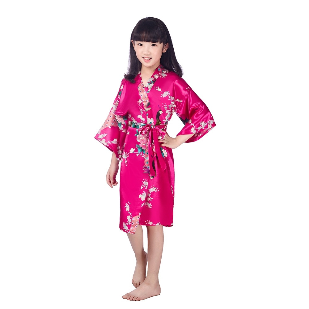 Lovely Plum Children New Vintage Japanese gril's Kimono kids Floral Print Dressing Gown traditional japanese Kimono 2-14