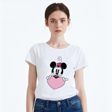 Funny  Mouse Creative Cartoon Cute Pattern Summer Short Sleeve Modal Women T-shirt