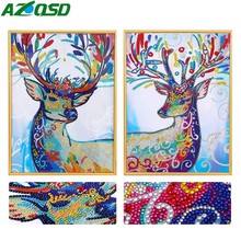 AZQSD Special Shaped Deer Diamond Embroidery Animal Picture Of Rhinestones Painting Home Decoration 40x50cm 5D DIY