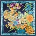 90cm*90cm Women tulip floral satin 2016 newest large square silk scarves